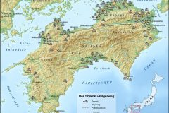 Map - The Shikoku Pilgrimage Route with the 88 Temples